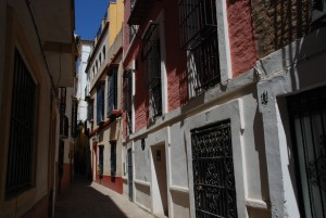 Narrow streets in the old part of Sevilla (Seville)