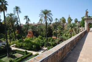The wall of the Palace of Alcazar, Seville, Spain