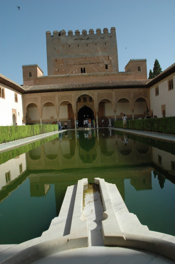 Alhambra Palace, or the Red Castle, in Granada, Spain contains some of the world's finest examples of Moorish architecture.